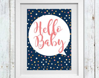 Hello Baby Nursery wall art print - Pink|Navy|White|gold Design