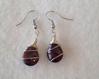 Dark purple teardrop earrings