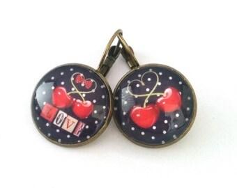 Earrings - vintage - cherry