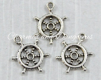 10 pewter Ship Steering Wheel charms (CM82)
