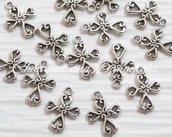 10 pewter Scroll Cross charms (CM98)