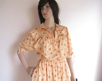 Vintage 50ties dress dress polka dot points dress honey