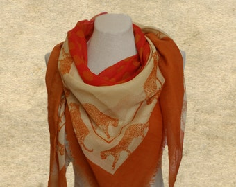 Large square scarf, Animal print scarf, Tiger fabric scarf, Terracotta scarf, Panther print scarf, Womens scarf shawl, Polka dot scarf