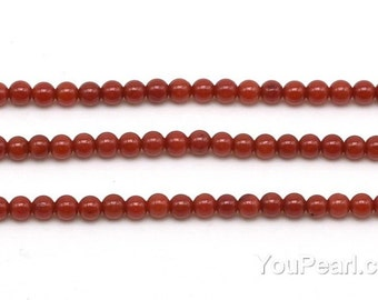 Red coral, 3mm round, tiny coral gem stone, natural gemstone strands, loose round shape red coral beads handmade jewelry, CRL2007
