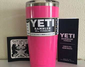 YETI! 20oz Yeti Stainless Steel Rambler tumbler/Cup Powder Coated HOT PINK. Comes in 20oz,30oz,colster, lowball and bottles. Prices vary.