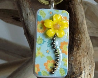 Yellow Flower Pendant Necklace, Upcycled Domino Pendant, Flower Necklace, SummerJewelry