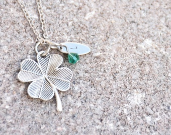 Four Leaf Clover Necklace - Personalized Initial Necklace - Shamrock Necklace - Clover Jewelry - Clover Necklace - Clover Leaf Necklace
