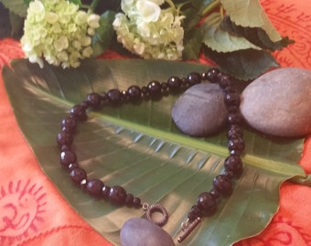 Black Crystal Bead Necklace