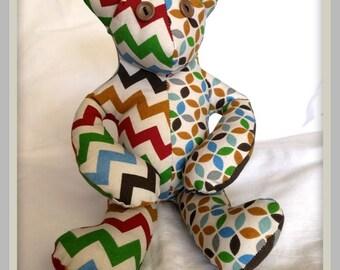 Cotton Bear, organic cotton bear, bear with button eyes, seated bear, patchwork bear