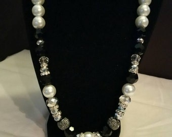 Black, Silver, and White Beaded Necklace Set