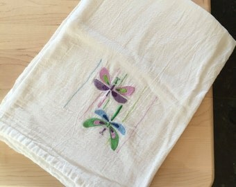 Dragonfly Embroidery Flour Sack Kitchen Towel
