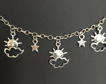 Sunshine, clouds & stars necklace