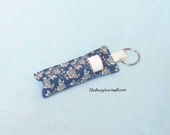 Lip Balm Holder, Chapstick Holder, Keyring, Gift for Her, Lip Balm Cozy, Chapstick Cozy, Roses on Blue