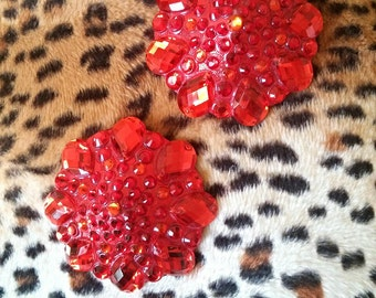 "Red rhinestone pasties burlesque nipple tassels pinup: ""Toujours L'amour!"""