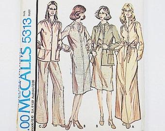70s Halston Dress Pattern   McCalls 5313 Dress Pants Top Pattern   70s Sewing Pattern