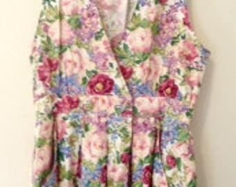 1990s Vintage Floral Pleated Dress with pockets, perfect condition. Spring,Summer. Maximalist.