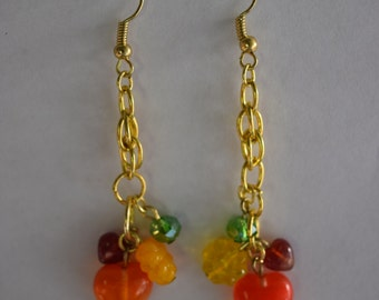 Orange czech glass heart earring