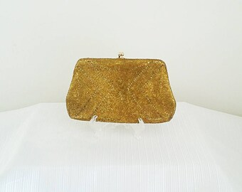 Gold Beaded Vintage Clutch