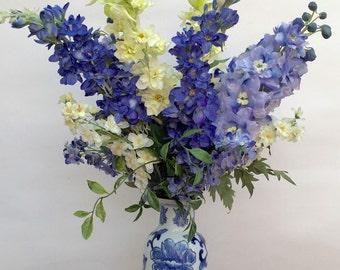 Silk Delphinium arrangement