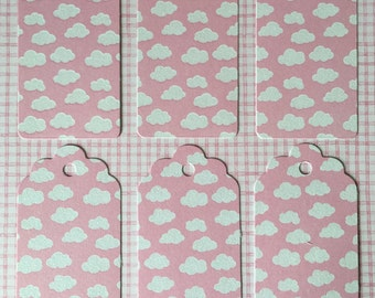Pink Gift Tags with Glitter Clouds x12