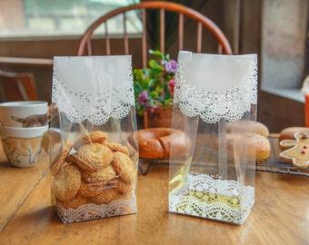 20 doily printed large cookie bags, big cookie bags, cookie favor bags, clear cookie bags, wedding favor cookie bags, bridal shower cookie