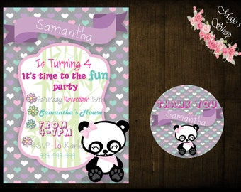 Cute Panda Birthday Invitation