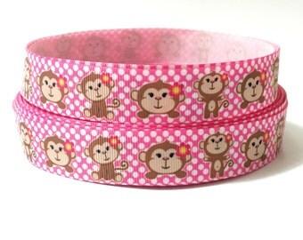 7/8 Monkey Grosgrain Ribbon,Monkey Ribbon, Pink grosgrain ribbon, animal ribbon, Pink Polka dot ribbon
