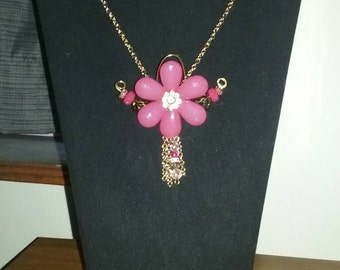 Pink and gold flower tie necklace