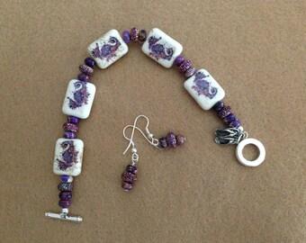Purple seahorse bracelet and earrings set