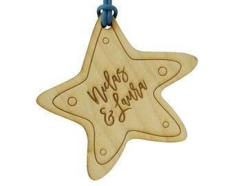 10+ Wooden Wedding Favour Tags, Custom Engraved, Starfish Shape for Beach Wedding or Destination Wedding