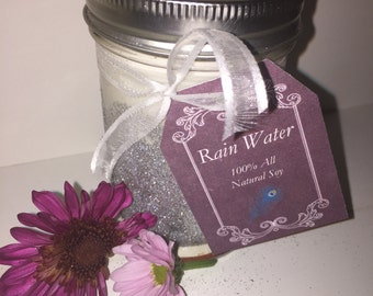 8 oz Handmade All Natural Soy Candle- Rain Water