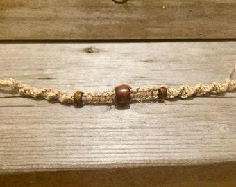Women's Hemp Bracelet with Wooden Beads