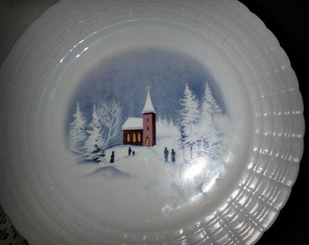 Winter 'Fluted' PLATE by LORENZ HUTSCHENREUTHER, Porcelain Plate, Kitchen Decor, Table Decor, German Ceramic, Pottery