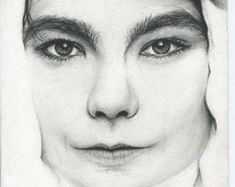 Bjork black and white charcoal pencil drawing portrait fan art print wall decor