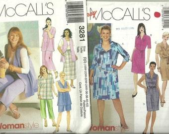 Womens Clothes, Plus Sizes Wardrobe Size 18W, 20W, 22W, 24W (36-42), Uncut Patterns, McCall's  #3511  #3281