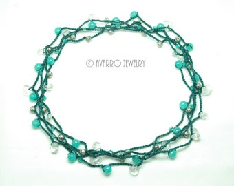 Turquoise Blue Long Beaded Necklace Bracelet, Beaded Wrap Bracelet, Long Crocheted Necklace, Thread Jewelry, Yarn Jewelry, Boho Jewelry