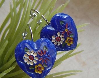 Old Czech glass heart EARRINGS-