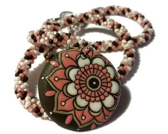 Pink Brown & White Flower Pendant on a Kumihimo Necklace (v2)