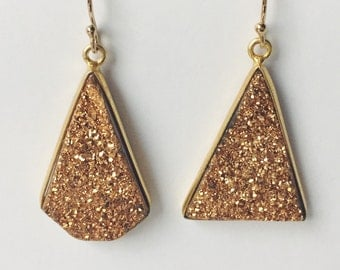 Gold druzy asymmetrical drop earrings - geometric asymmetrical earrings- Large