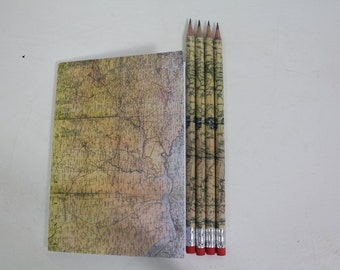 A6 notebook and pencil set, stationery, stocking filler, vintage map,