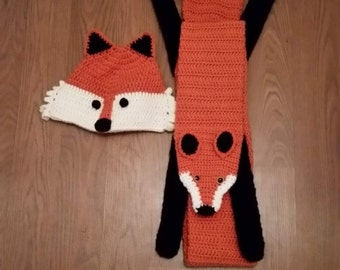 Fox scarf and hat set