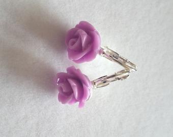 Purple Flower Resin Earrings