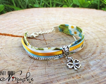 """Floral liberty bracelet green off white ribbons blue and mustard yellow silver clover and chain """"Dandelion"""" spring"""
