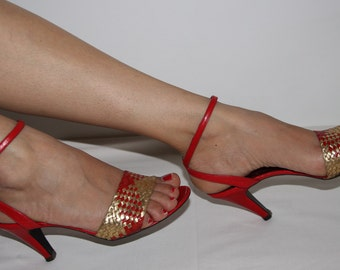 Vintage red and gold ankle strap heels