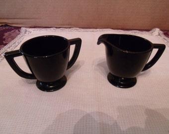 Vintage Black Amethyst Glass Cream & Sugar Set