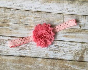 Coral Shabby Chic Headband/Shabby Flower Headband/Shabby Headband/Baby Headband/Infant Headband/Headband/Toddler Headband/Newborn Headband