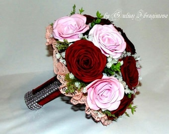 Maroon- pink  Alternative Bridal bouquet rose
