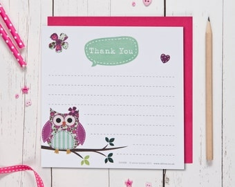 Pretty Owl Thank You cards
