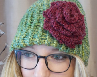 Knit Hat with Rose - Pesto Green