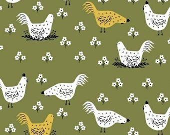 """End of Bolt, Chickens in Green from the Gardening Collection by Dinara Mirtalipova for Windham Fabrics 28""""x44"""""""